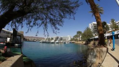The lagoon in Eilat: yachts, calm blue water, promenade — 图库视频影像