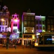 Stock Video: Amsterdam Red Light District, tram, VodkMuseum, Holland