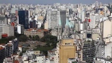 Sao Paulo Brazil skyline - Cathedral — Stock video
