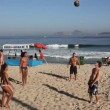 Kick ball game in Copacabana Beach Rio de Janeiro, Brazil — Stock Video