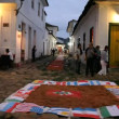 Tapestry of Corpus Christi in Paraty, Brazil - Foto Stock