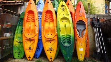 Colorful sea Kayaks — Stock Video