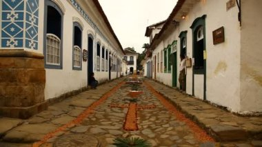 Tapestry of Corpus Christi in Paraty, Brazil — Stock Video