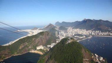 Aerial view of Rio de Janeiro Brazil beach Copacabana pan — Stock Video