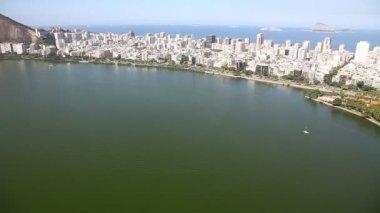Lagoon Ipanema aerial Rio de Janeiro Brazil helicopter flight — Stock Video