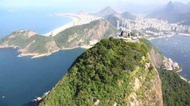 Sugar Loaf aerial Rio de Janeiro Brazil helicopter flight — Stock Video