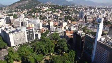 Arches of Lapa aerial Rio de Janeiro Brazil helicopter flight — Stock Video