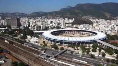 Maracana Stadium aerial Rio de Janeiro Brazil helicopter flight — Stock Video