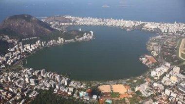 Lagoon aerial Rio de Janeiro Brazil helicopter flight — Stock Video