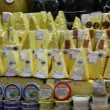 Choice of gourmet cheese offered in the market - 图库照片