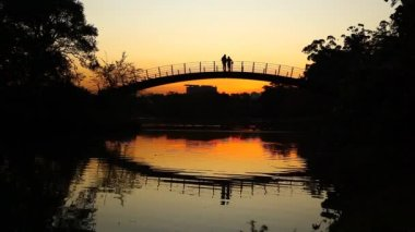 Romantic sunset on bridge — Stock Video