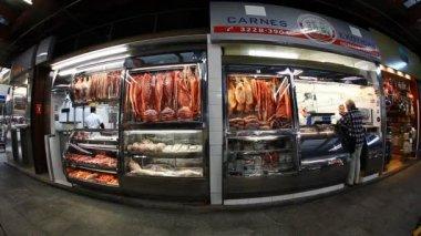 Meat and fish at Municipal Market Brazil — Stock Video