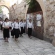 Stock Video: Jewish school girls on their way to western wall