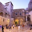 Stock Video: Church of Holy Sepulchre: entrance at sunset