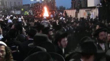Hasidic celebration of Lag B'omer in Meron — 图库视频影像