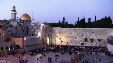 Western Wall and Dome of the Rock sunset time lapse — Stock Video