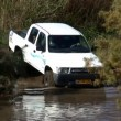 4x4 challenge in the water - Stock Photo