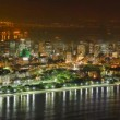 Rio de Janeiro downtown business area at night, time lapse - Stock Photo