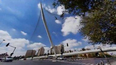 Le pont de chaîne moderne à jérusalem, israël, time-lapse — Vidéo