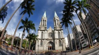 Catedral da se - sao paulo metropolitan cathedral - brazilië time-lapse — Stockvideo