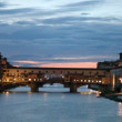 Stock Video: Ponte Vecchio of Florence at sunset