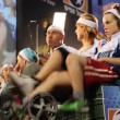 Earth Day party 2010: cyclist use pedal power to generate electricity — Stock Video