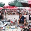 Flea market in Beijing, fisheye — Stock Video