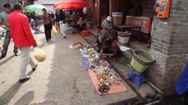 在康定、 中国蘑菇市场 — 图库视频影像