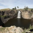 Waterfall in The Gobi Desert in Mongolia, fisheye - Stock Photo