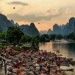 Hot air ballooning and rafting - Yangshuo, time lapse - Stock Photo
