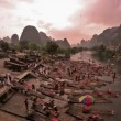 Stock Video: Hot air ballooning and rafting - Yangshuo, time lapse