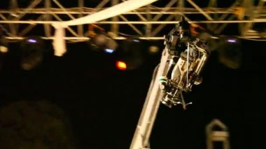 Crane Camera in action at night concert — Stock Video