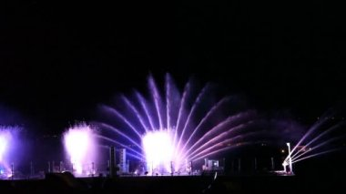 Tiberium musical light water show on the Sea of Galilee — Stock Video