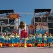 Kids with costumes sing during the Murga competition of the carnival — Stock Video
