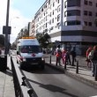 Spanish paramedics red cross in ambulance — Stock Video