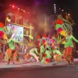 Stock Video: Carnival time! Carnival group with costumes during GrGalof festival