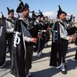 Stock Video: Bagpipe Scout's procession at Qasr Al Yahud Baptismal Site, Israel