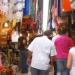 Tourists visit bazaar market street old Jerusalem - Stock Photo