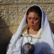 Pilgrim at baptismal site in the Jordan River Holy Land Israel - Foto Stock