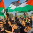 Muslim activists in anti Israel protest during commemoration of Land Day - Stock Photo