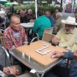 Retired persons senior citizens play Domino — Stock Video