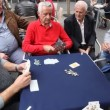 Retired persons senior citizens play card games — Stock Video