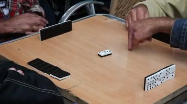 Retired persons senior citizens play Domino time lapse — Stock Video
