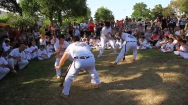 With disability practice Capoeira — Stock Video