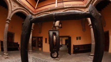 Interior of church with well. — Stock Video