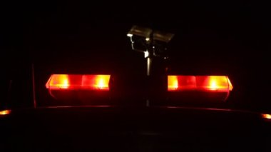 Flashing fireman emergency warning lights fire truck — Stok video