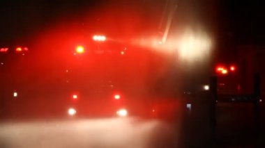 Flashing fireman emergency warning lights fire truck — Vidéo