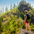 "Woman walks around ""Solop"" mountain in Turochak villiage (Altay) — Stock Photo #13506234"
