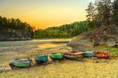 Boats through river coast — Stock Photo