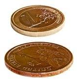 Dollar and euro coins — Stock Photo